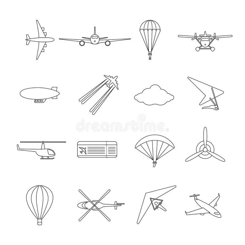 Hidroavião preto isolado do esboço, avião, paraquedas, helicóptero, hélice, cair-planador, dirigible, paraglide, balão Grupo de ilustração royalty free
