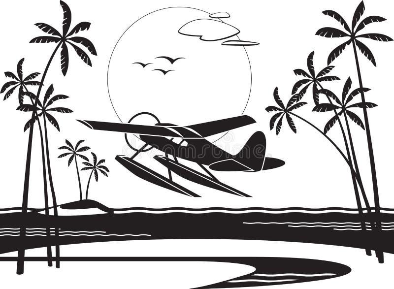 Hidroavião que descola de uma ilha no oceano ilustração stock