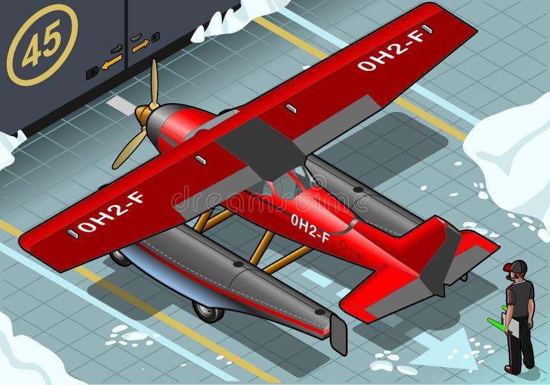 Hidroavión ártico isométrico aterrizado en vista posterior ilustración del vector