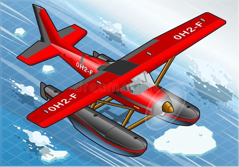 Hidroavión ártico isométrico en vuelo en Front View stock de ilustración
