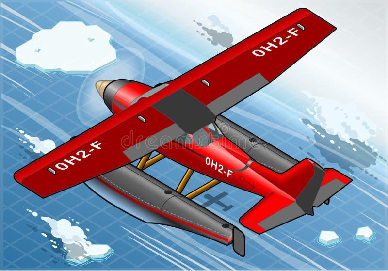 Hidroavión ártico isométrico en vuelo en vista posterior ilustración del vector