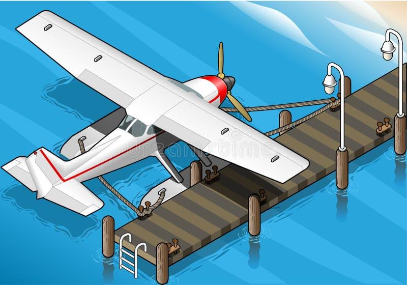 Hidroavión isométrico amarrado en el embarcadero en vista posterior stock de ilustración
