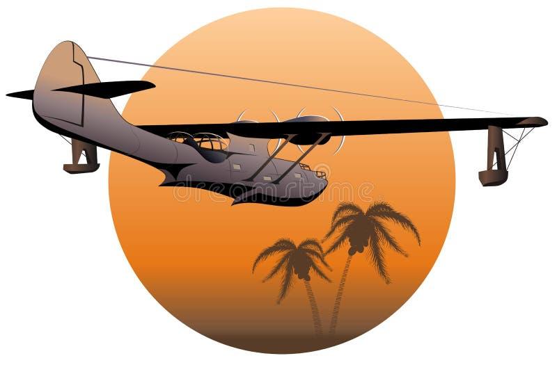 Hidroavión retro del vector en la puesta del sol stock de ilustración