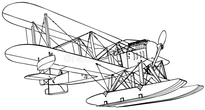 Hidroavión viejo ilustración del vector