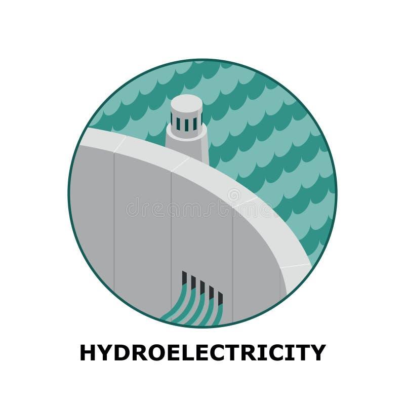 Hidroelectricidad, fuentes de energía renovable - parte 3 ilustración del vector