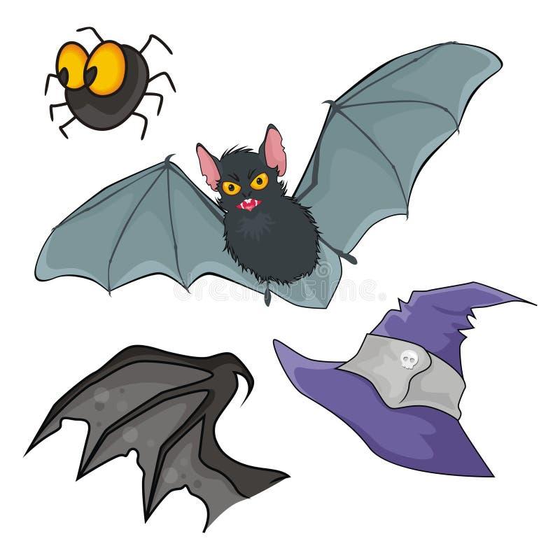 Hieb, Schutzkappe, Flügel und Spinne lizenzfreie abbildung