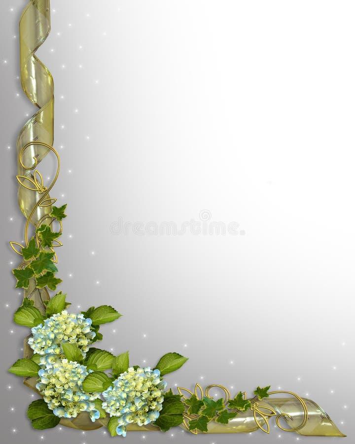 Hiedra y Hydrangea florales de la invitación de la frontera stock de ilustración