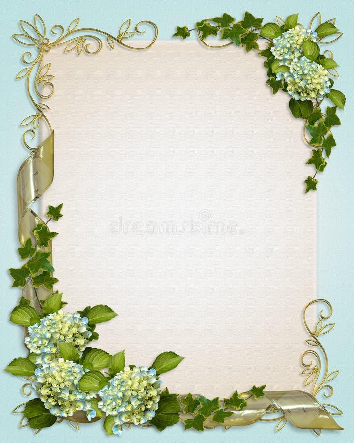Hiedra y Hydrangea florales de la invitación de la frontera libre illustration