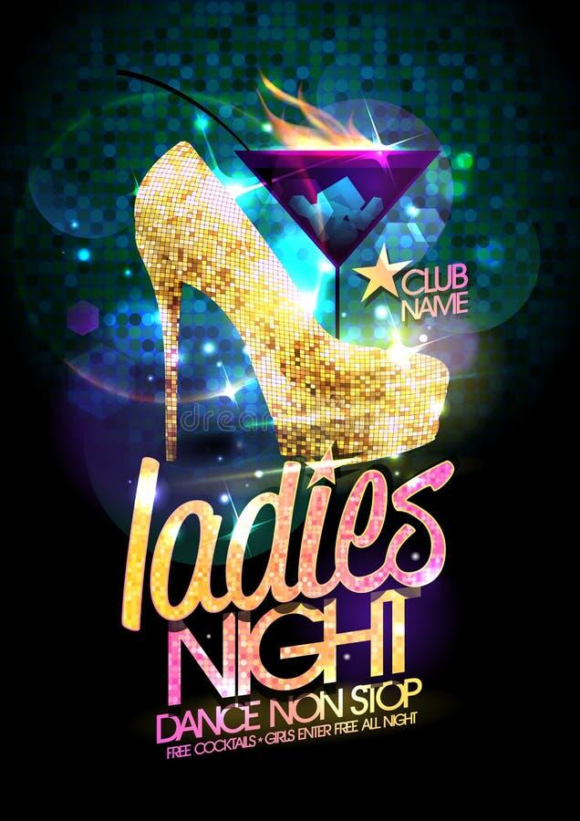 Hielde de vectorillustratie van de damesnacht met goud hoog schoenen en brandende cocktail vector illustratie