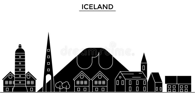 Hiele el horizonte de la ciudad del vector de la arquitectura de la tierra, paisaje urbano del viaje con las señales, edificios,  libre illustration