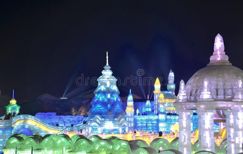 Hiele la luz en Harbin, China, Hei Longing Province imagen de archivo