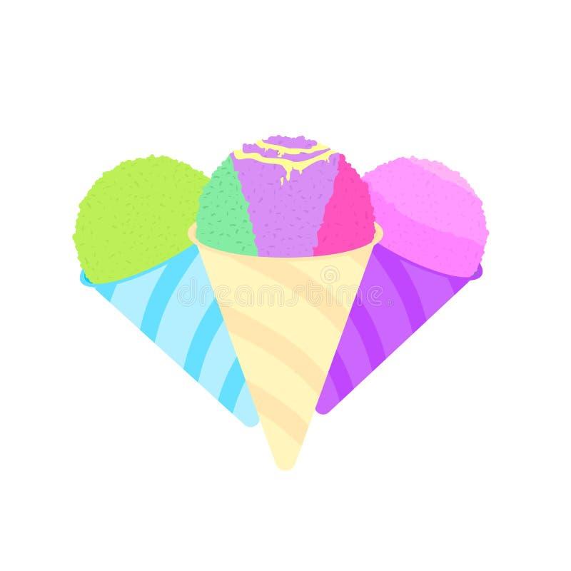 Hielo afeitado en logotipo de los conos stock de ilustración