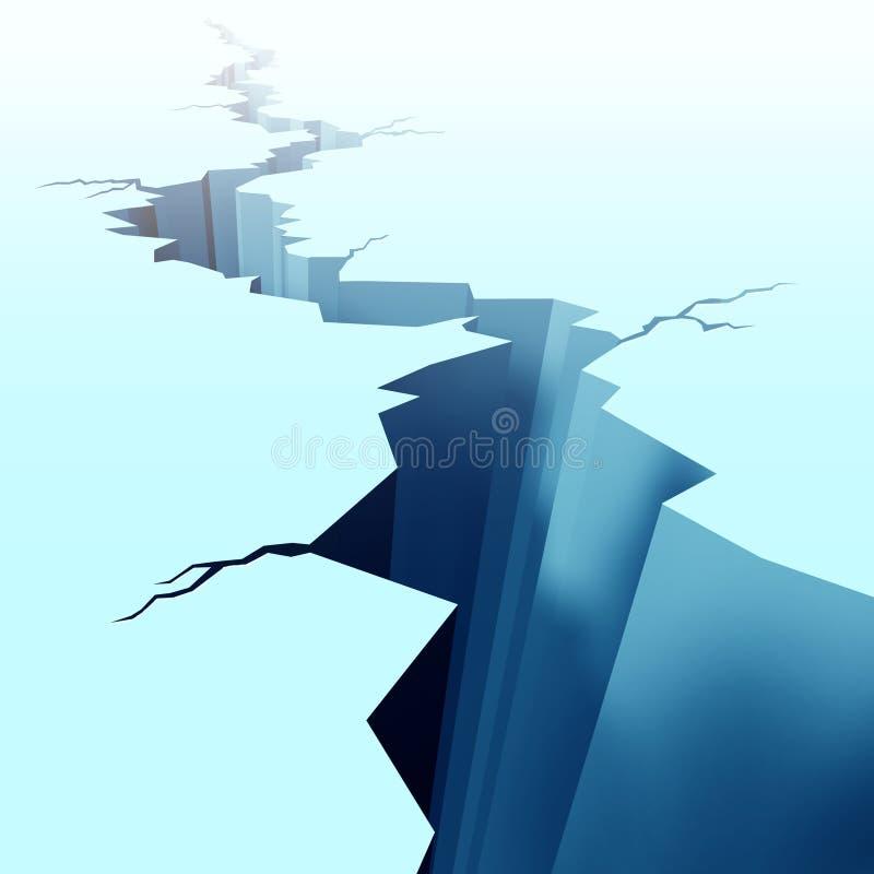 Hielo agrietado en suelo congelado ilustración del vector
