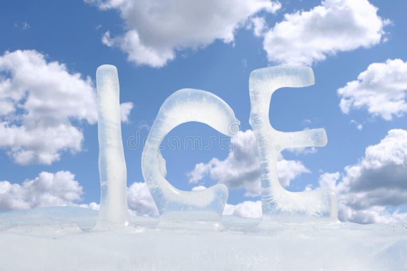 Hielo congelado del texto foto de archivo