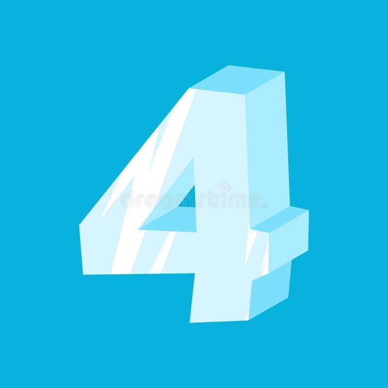 Hielo del número 4 Fuente cuatro de los carámbanos Símbolo congelado del alfabeto iceberg libre illustration