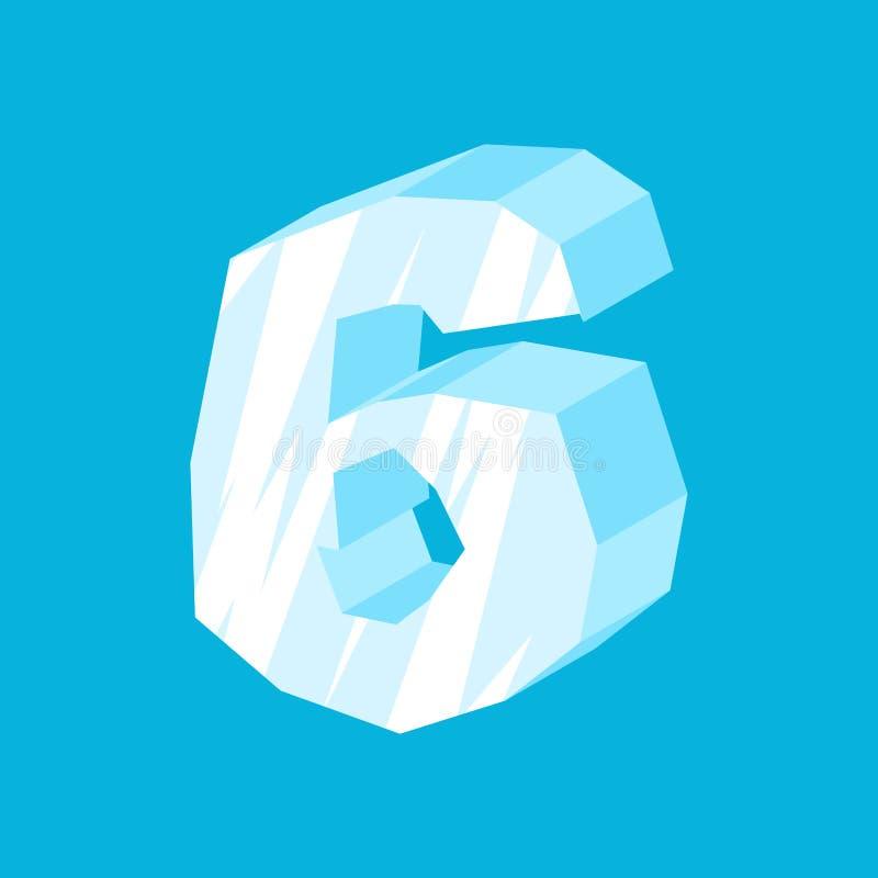 Hielo del número 6 Fuente seis de los carámbanos Símbolo congelado del alfabeto iceberg libre illustration