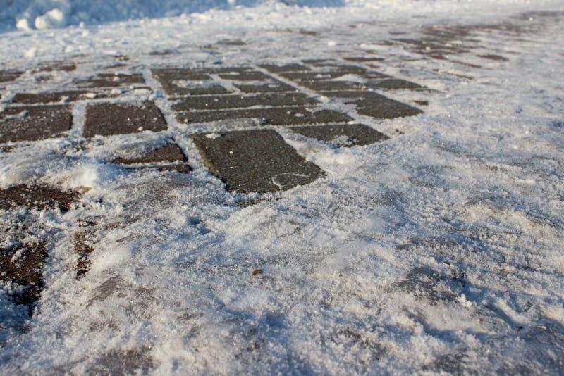 Hielo en el pavimento fotos de archivo