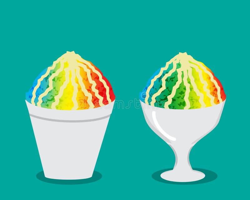 Hielo hawaiano del afeitado con color del arco iris ilustración del vector