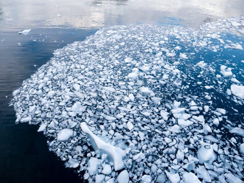 Hielo impetuoso, pedazos del hielo que derriten y que derivan en el agua de Andvor imagen de archivo libre de regalías