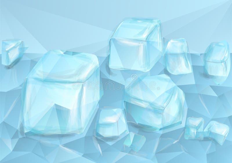 Hielo machacado azul ilustración del vector