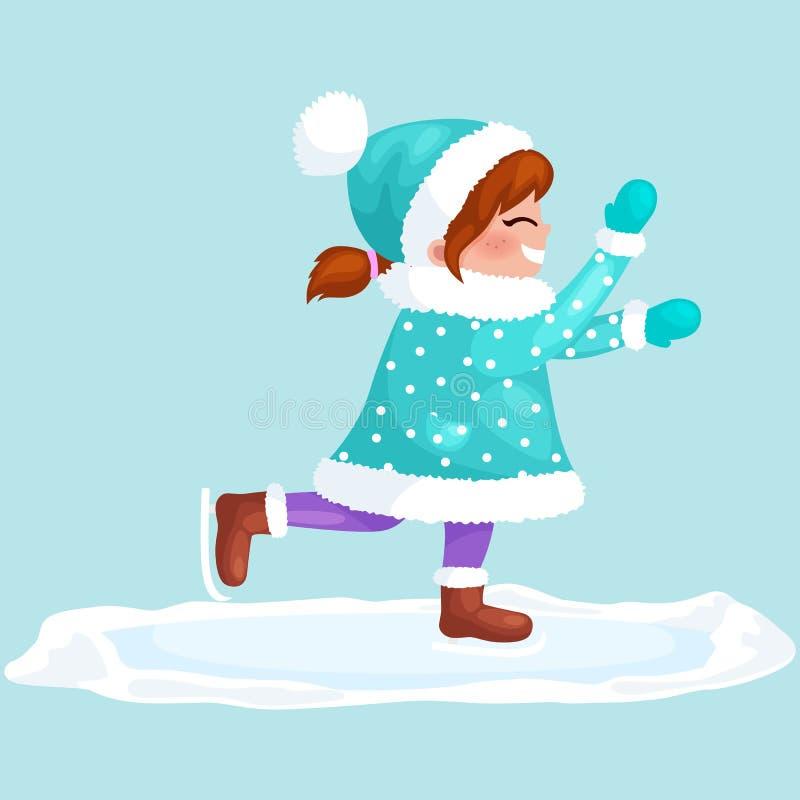 Hielo patinador al aire libre aislado, actividad de las vacaciones de invierno de la diversión, Feliz Navidad de la muchacha stock de ilustración