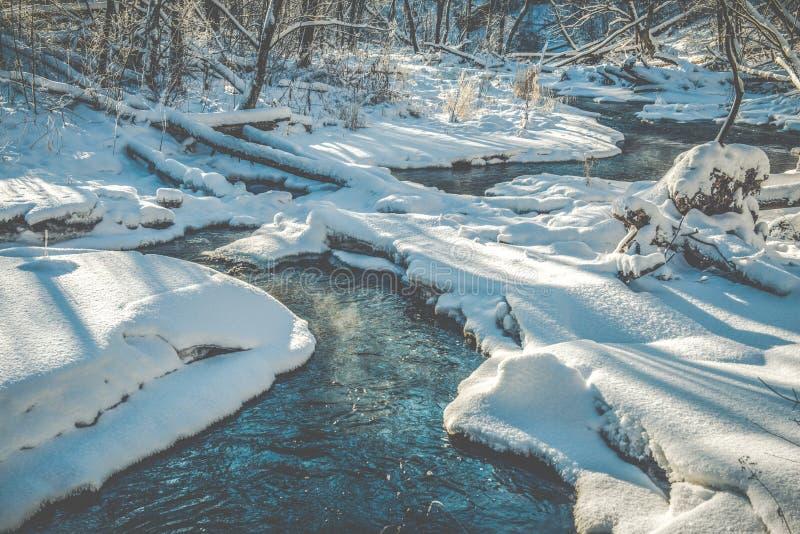 Hielo y nieve cerca del pequeño río forestal imagen de archivo