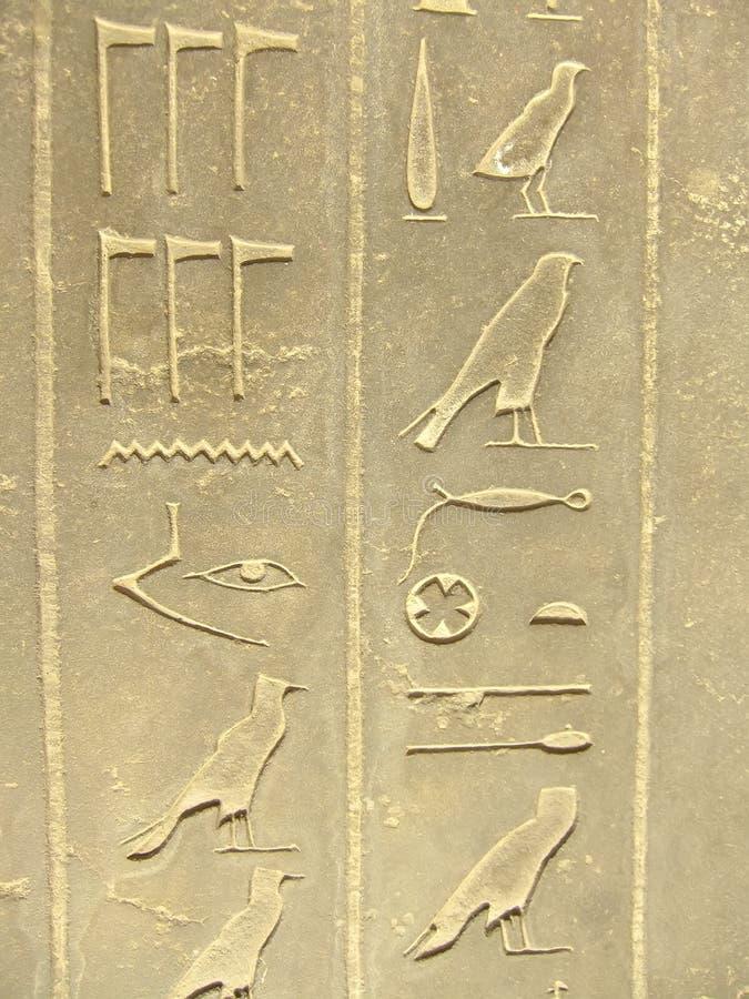 Hieróglifos antigos no museu egípcio exterior da exposição, o Cairo foto de stock royalty free