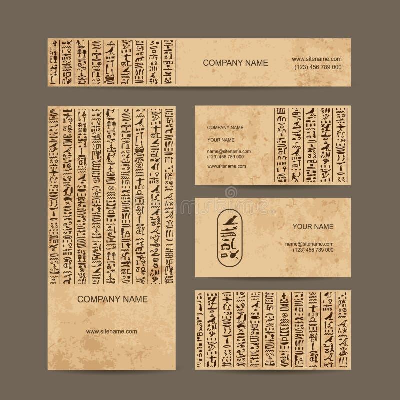 Hieróglifos de Egito, cartões para seu projeto ilustração stock