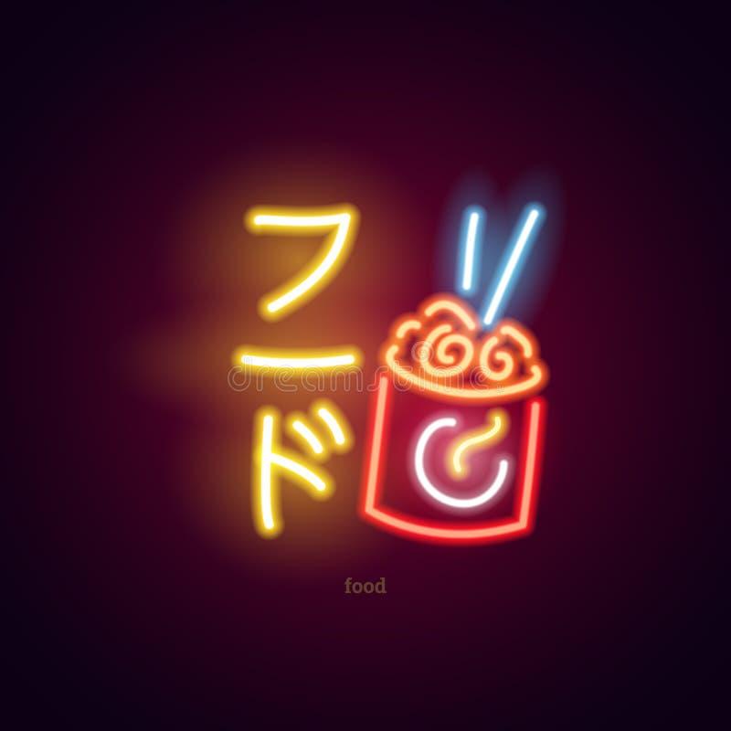 Hieróglifos japoneses do sinal de néon Quadro indicador brilhante da noite, bandeira clara de incandescência ou logotipo Conceito ilustração royalty free