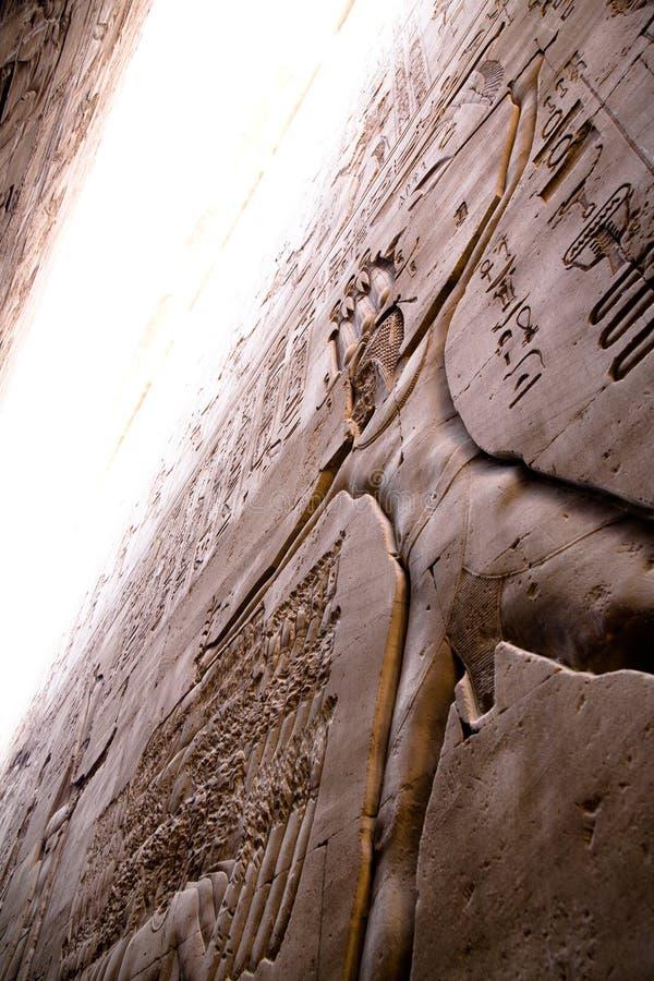 Hieróglifos no templo de Horus, Edfu imagem de stock