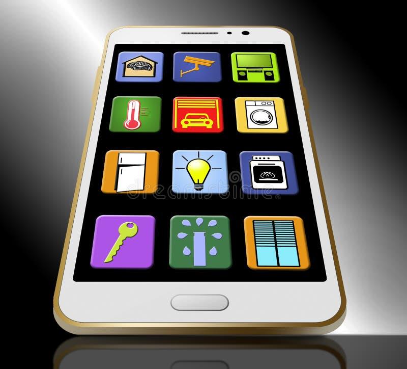 Hier is het slimme die huis apps op het scherm van een celtelefoon wordt getoond Illustratie royalty-vrije illustratie