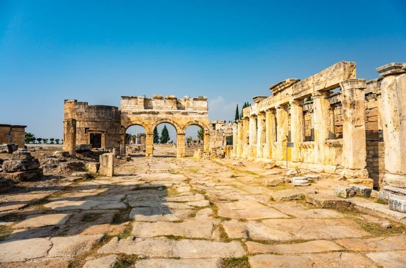 Hierapolis ancient city ruins Pamukkale Turkey. UNESCO world heritage site royalty free stock images