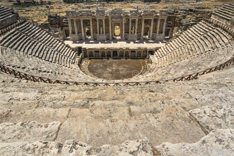 Hierapolis Ancient City Theater, Pamukkale, Denizli, Turkey. Interior view of Roman theater. Panoramic image stock photo