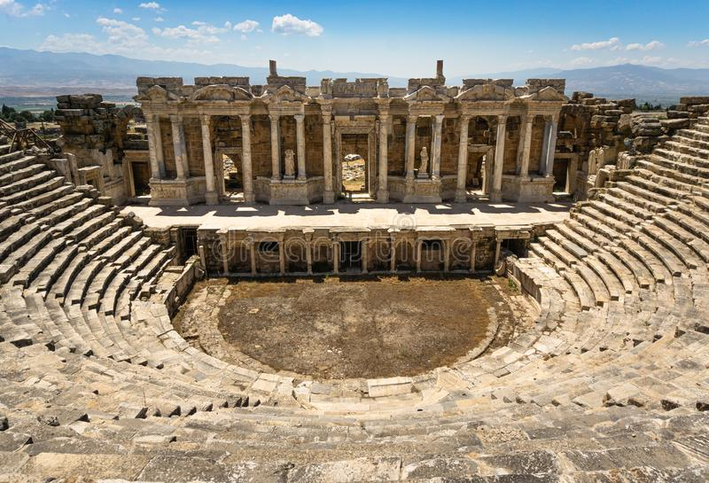 Hierapolis Ancient City Theater, Pamukkale, Denizli, Turkey. Roman Theater view from inside stock image