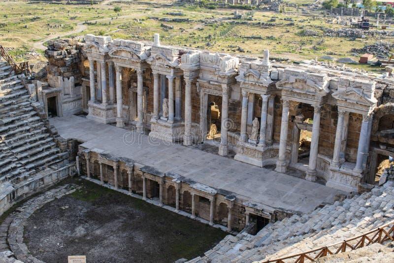 Hierapolis, Pamukkale, Denizli, die Türkei, Theater, Amphitheater, alte Stadt, Ruinen, heilige Stadt, römisches Reich, klassisch, stockbild