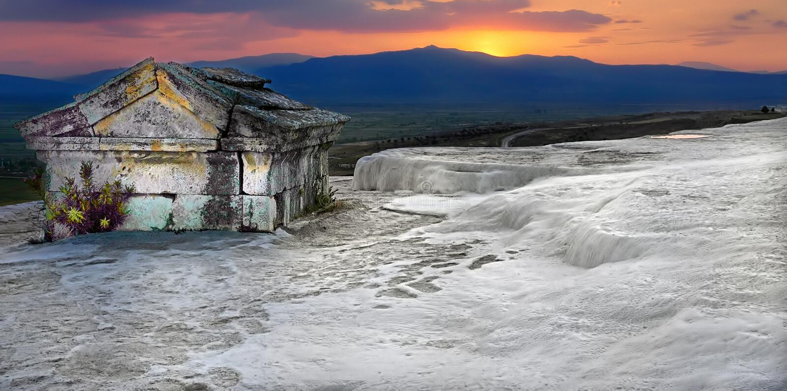 Hierapolis-Pamukkale. Deriving from springs in a cliff almost 200 m high overlooking the plain, calcite-laden waters have created at Pamukkale & x28;Cotton royalty free stock images