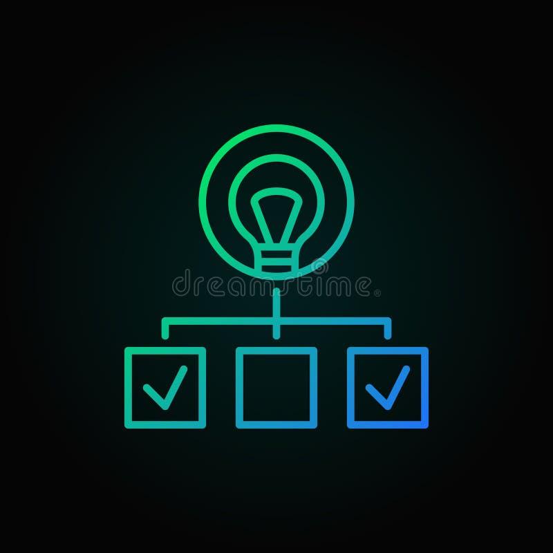 Hierarchia z lightbulb barwiącą kreskową ikoną Uruchomienie symbol ilustracja wektor