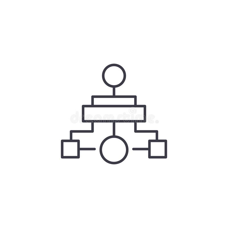 Hierarchical diagram linear icon concept. Hierarchical diagram line vector sign, symbol, illustration. stock illustration