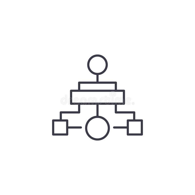 Hierarchical diagrama ikony liniowy pojęcie Hierarchical diagram linii wektoru znak, symbol, ilustracja ilustracji