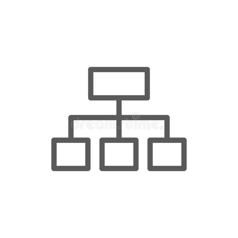 Hierarchical graph structure line icon. Vector hierarchical graph structure line icon. Symbol and sign illustration design. Isolated on white background stock illustration