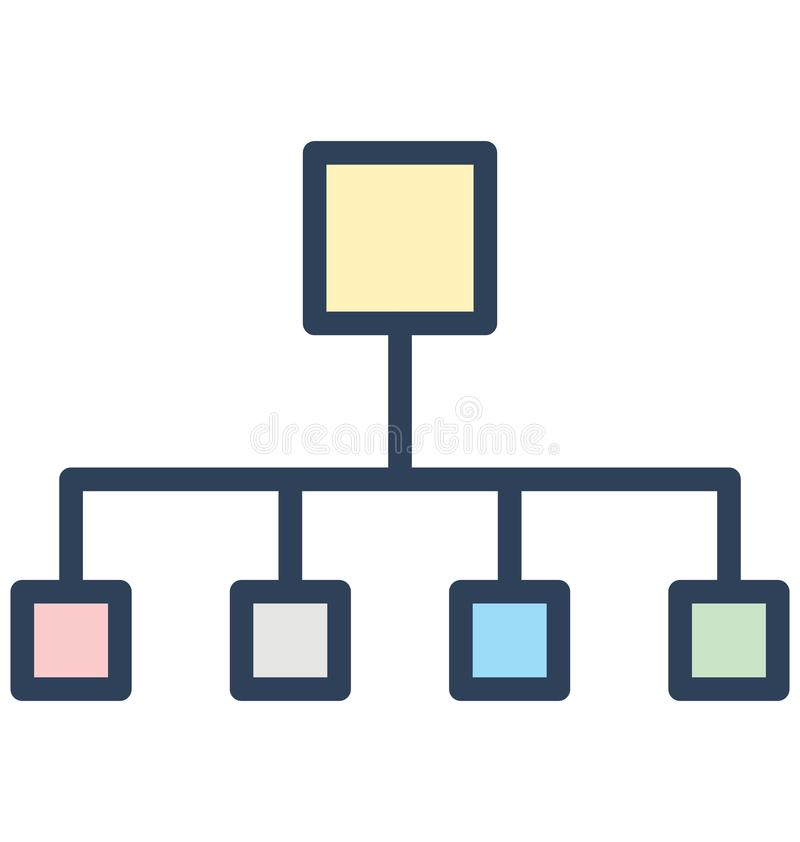 Hierarchical network, hierarchical structure Isolated Vector Icon That can be easily edited in any size or modified. royalty free illustration