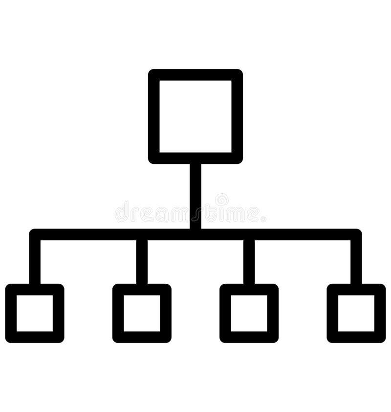 Hierarchical network, hierarchical structure Isolated Vector Icon That can be easily edited in any size or modified. stock illustration
