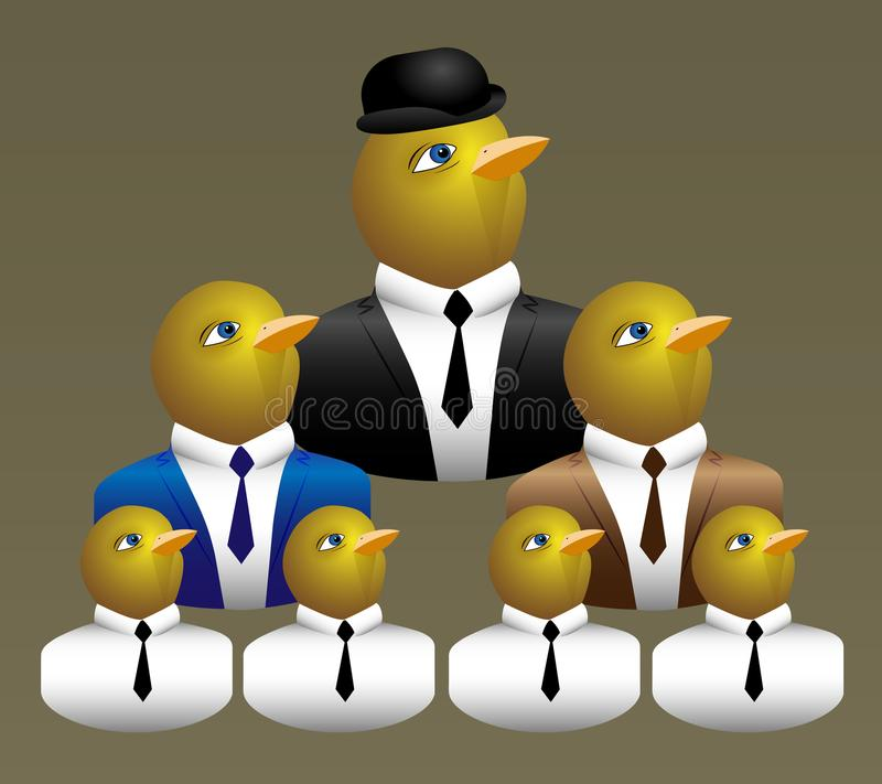 Hierarchical pyramid. Built of business chicks royalty free illustration
