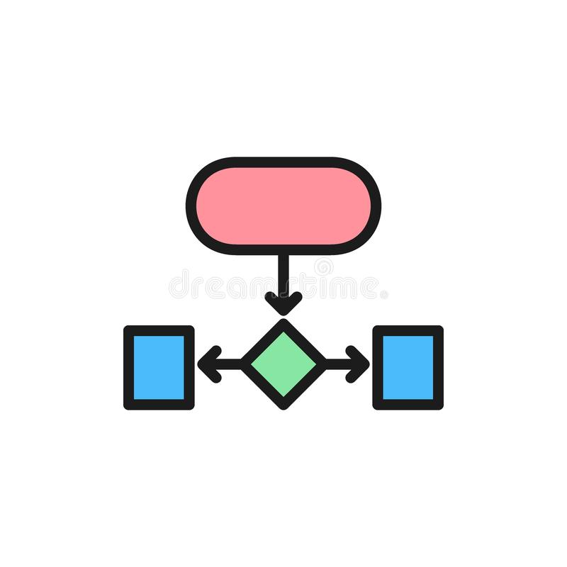 Hierarchical structure, auxiliary chart flat color icon. Vector hierarchical structure, auxiliary chart flat color icon. Symbol and sign illustration design royalty free illustration