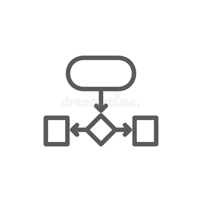 Hierarchical structure, auxiliary chart line icon. royalty free illustration