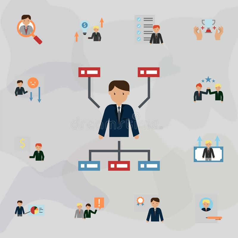 Hierarchical structure color icon. Universal set of business for website design and development, app development. On colored background royalty free illustration