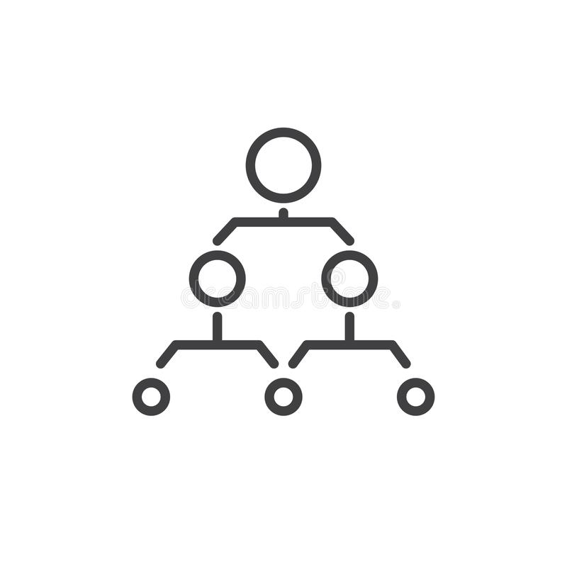 Hierarchical structure line icon royalty free illustration