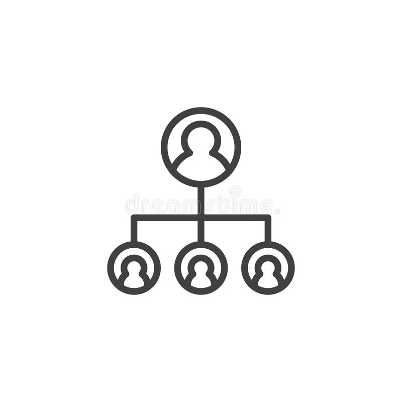 Hierarchical structure outline icon stock illustration
