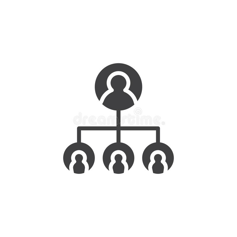 Hierarchical structure vector icon. Filled flat sign for mobile concept and web design. Teamwork solid icon. Organization chart symbol, logo illustration royalty free illustration