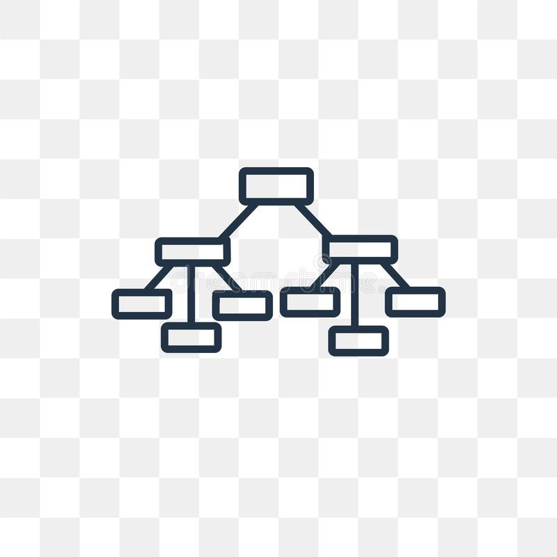 Hierarchical structure vector icon isolated on transparent background, linear Hierarchical structure transparency concept can be vector illustration